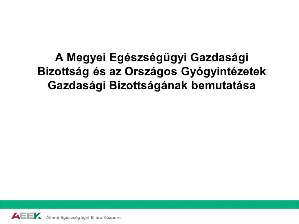 A Megyei Egészségügyi Gazdasági Bizottság és az Országos Gyógyintézetek Gazdasági Bizottságának bemutatása
