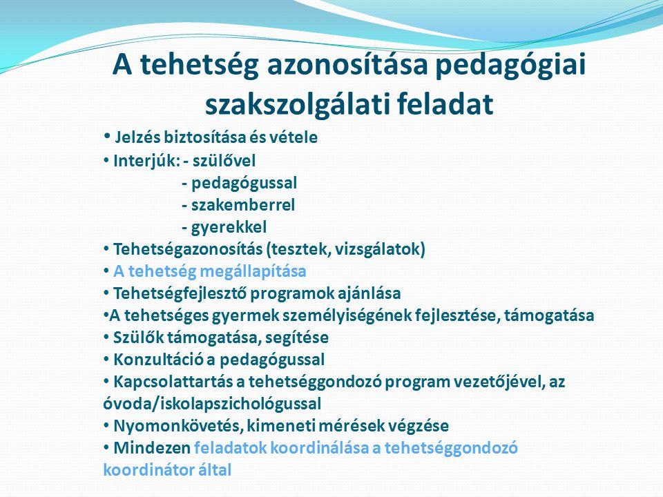 A tehetség azonosítása pedagógiai szakszolgálati feladat Jelzés biztosítása és vétele Interjúk: - szülővel - pedagógussal - szakemberrel - gyerekkel T