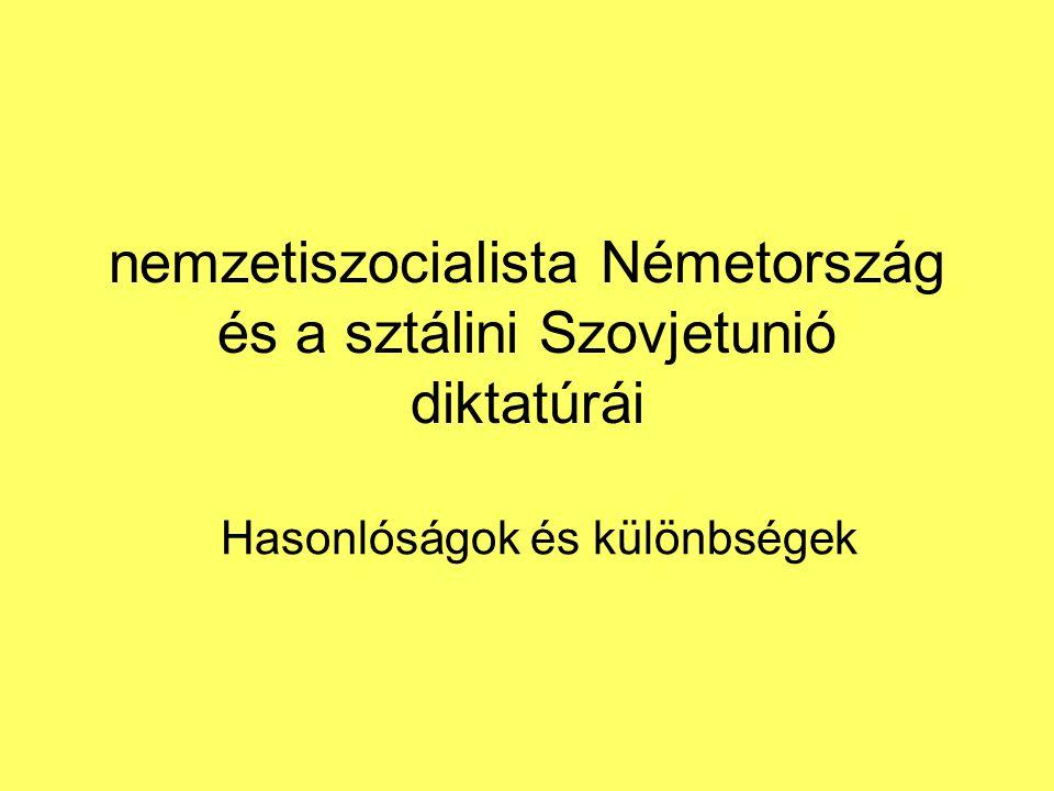 nemzetiszocialista Németország és a sztálini Szovjetunió diktatúrái Hasonlóságok és különbségek