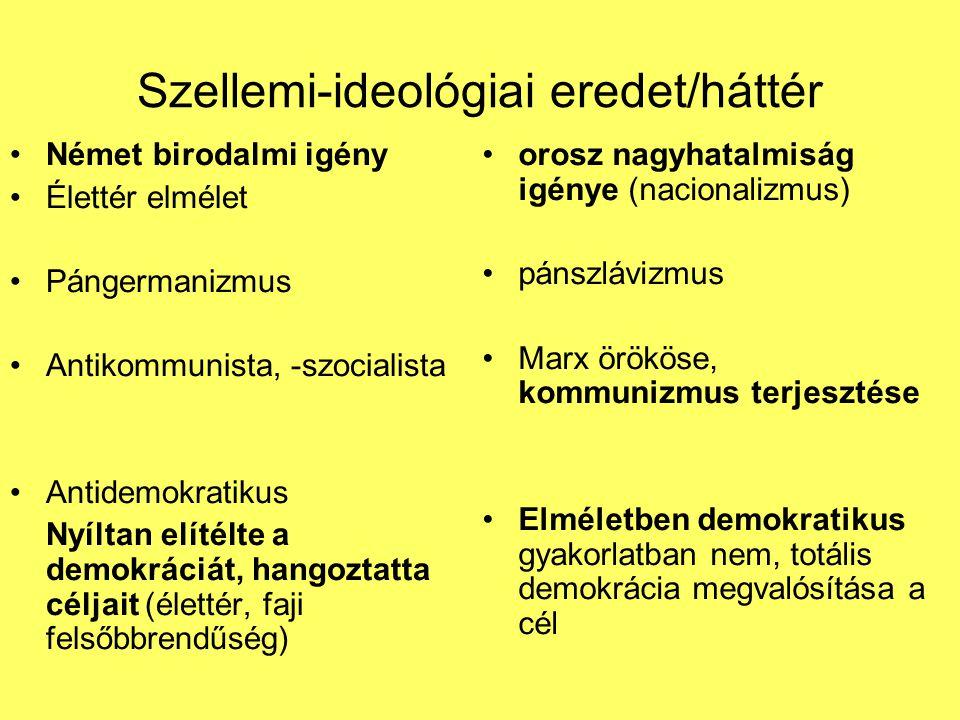 Szellemi-ideológiai eredet/háttér Német birodalmi igény Élettér elmélet Pángermanizmus Antikommunista, -szocialista Antidemokratikus Nyíltan elítélte