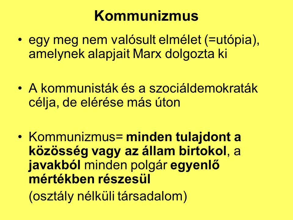 Kommunizmus egy meg nem valósult elmélet (=utópia), amelynek alapjait Marx dolgozta ki A kommunisták és a szociáldemokraták célja, de elérése más úton