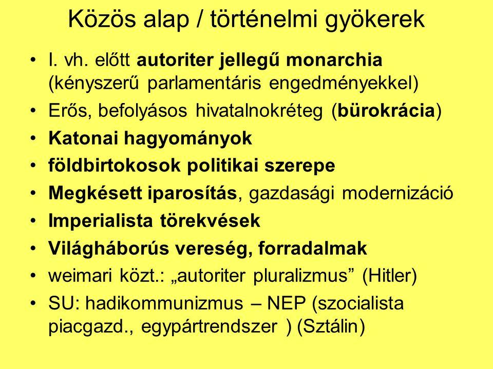 Közös alap / történelmi gyökerek I. vh. előtt autoriter jellegű monarchia (kényszerű parlamentáris engedményekkel) Erős, befolyásos hivatalnokréteg (b