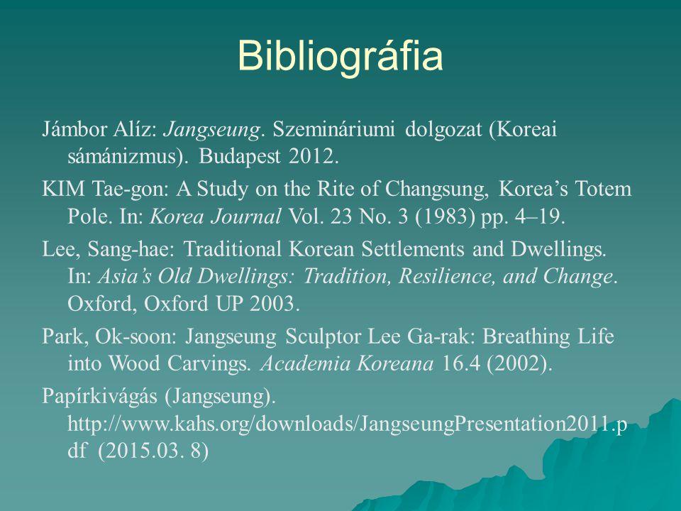 Bibliográfia Jámbor Alíz: Jangseung. Szemináriumi dolgozat (Koreai sámánizmus). Budapest 2012. KIM Tae-gon: A Study on the Rite of Changsung, Korea's