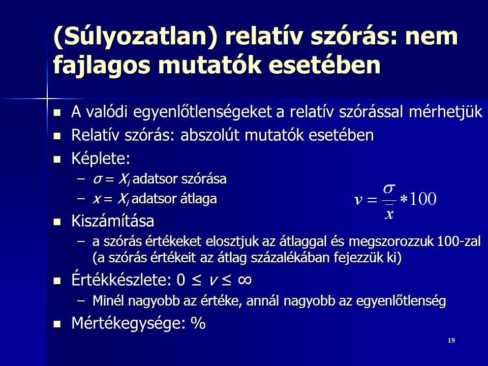 19 (Súlyozatlan) relatív szórás: nem fajlagos mutatók esetében A valódi egyenlőtlenségeket a relatív szórással mérhetjük A valódi egyenlőtlenségeket a relatív szórással mérhetjük Relatív szórás: abszolút mutatók esetében Relatív szórás: abszolút mutatók esetében Képlete: Képlete: –σ = X i adatsor szórása –x = X i adatsor átlaga Kiszámítása Kiszámítása –a szórás értékeket elosztjuk az átlaggal és megszorozzuk 100-zal (a szórás értékeit az átlag százalékában fejezzük ki) Értékkészlete: 0 ≤ v ≤ ∞ Értékkészlete: 0 ≤ v ≤ ∞ –Minél nagyobb az értéke, annál nagyobb az egyenlőtlenség Mértékegysége: % Mértékegysége: %