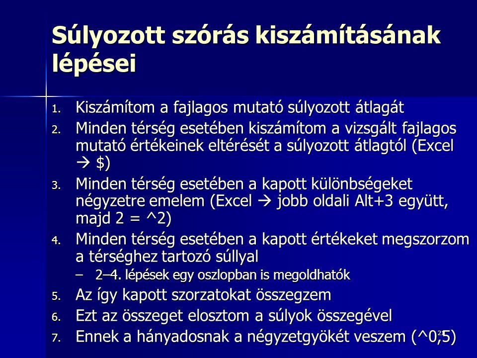 21 Súlyozott szórás kiszámításának lépései 1.Kiszámítom a fajlagos mutató súlyozott átlagát 2.