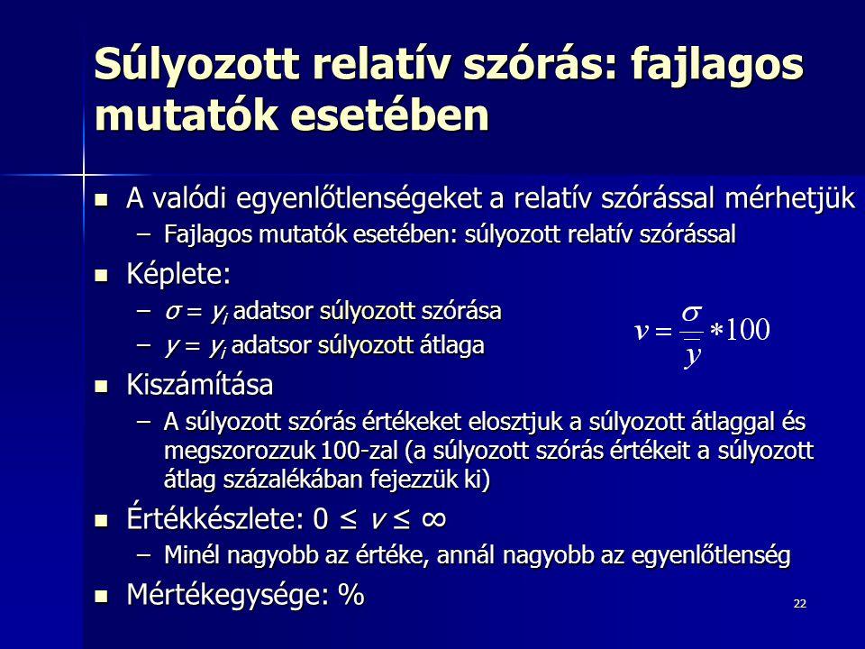 22 Súlyozott relatív szórás: fajlagos mutatók esetében A valódi egyenlőtlenségeket a relatív szórással mérhetjük A valódi egyenlőtlenségeket a relatív