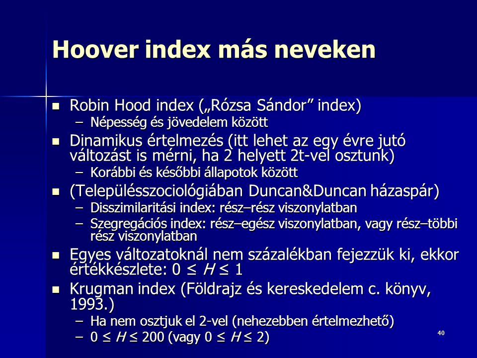 """40 Hoover index más neveken Robin Hood index (""""Rózsa Sándor index) Robin Hood index (""""Rózsa Sándor index) –Népesség és jövedelem között Dinamikus értelmezés (itt lehet az egy évre jutó változást is mérni, ha 2 helyett 2t-vel osztunk) Dinamikus értelmezés (itt lehet az egy évre jutó változást is mérni, ha 2 helyett 2t-vel osztunk) –Korábbi és későbbi állapotok között (Településszociológiában Duncan&Duncan házaspár) (Településszociológiában Duncan&Duncan házaspár) –Disszimilaritási index: rész–rész viszonylatban –Szegregációs index: rész–egész viszonylatban, vagy rész–többi rész viszonylatban Egyes változatoknál nem százalékban fejezzük ki, ekkor értékkészlete: 0 ≤ H ≤ 1 Egyes változatoknál nem százalékban fejezzük ki, ekkor értékkészlete: 0 ≤ H ≤ 1 Krugman index (Földrajz és kereskedelem c."""