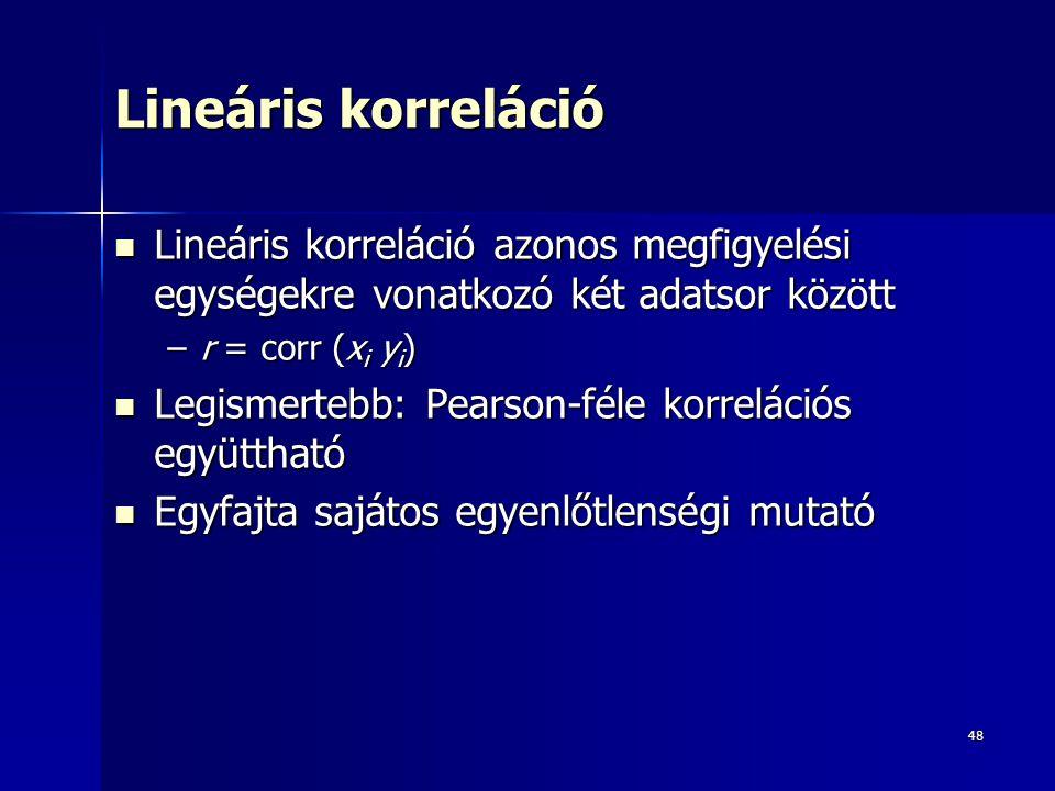 48 Lineáris korreláció Lineáris korreláció azonos megfigyelési egységekre vonatkozó két adatsor között Lineáris korreláció azonos megfigyelési egysége