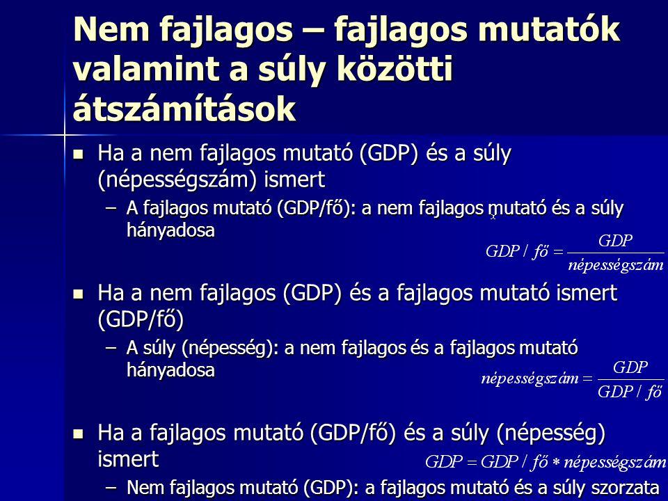 6 Nem fajlagos – fajlagos mutatók valamint a súly közötti átszámítások Ha a nem fajlagos mutató (GDP) és a súly (népességszám) ismert Ha a nem fajlagos mutató (GDP) és a súly (népességszám) ismert –A fajlagos mutató (GDP/fő): a nem fajlagos mutató és a súly hányadosa Ha a nem fajlagos (GDP) és a fajlagos mutató ismert (GDP/fő) Ha a nem fajlagos (GDP) és a fajlagos mutató ismert (GDP/fő) –A súly (népesség): a nem fajlagos és a fajlagos mutató hányadosa Ha a fajlagos mutató (GDP/fő) és a súly (népesség) ismert Ha a fajlagos mutató (GDP/fő) és a súly (népesség) ismert –Nem fajlagos mutató (GDP): a fajlagos mutató és a súly szorzata
