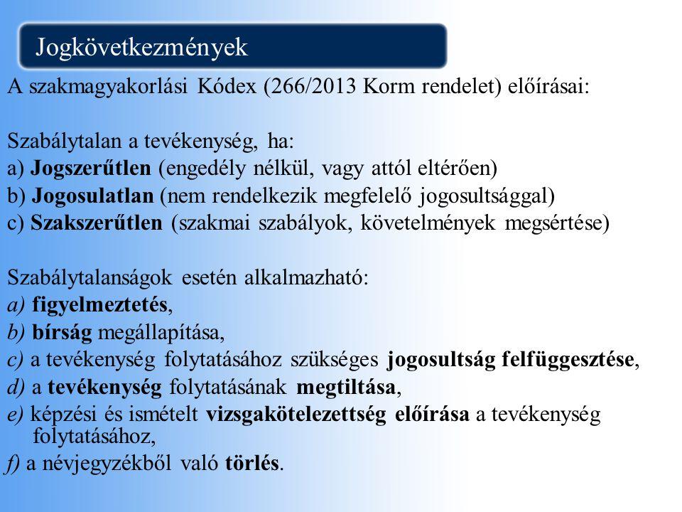 Jogkövetkezmények A szakmagyakorlási Kódex (266/2013 Korm rendelet) előírásai: Szabálytalan a tevékenység, ha: a) Jogszerűtlen (engedély nélkül, vagy