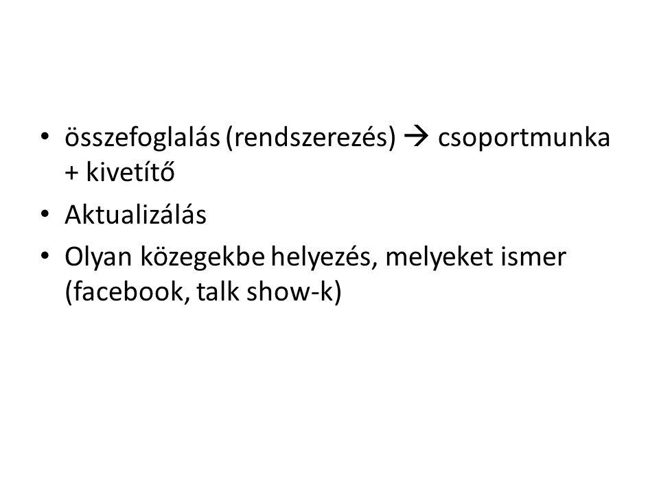 összefoglalás (rendszerezés)  csoportmunka + kivetítő Aktualizálás Olyan közegekbe helyezés, melyeket ismer (facebook, talk show-k)