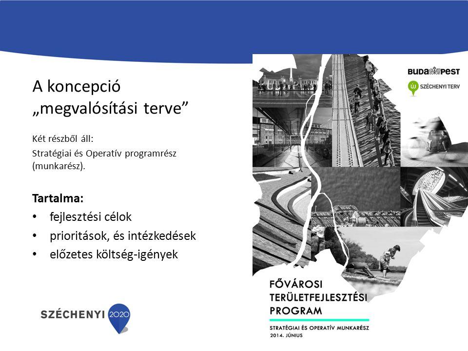 """A koncepció """"megvalósítási terve"""" Két részből áll: Stratégiai és Operatív programrész (munkarész). Tartalma: fejlesztési célok prioritások, és intézke"""
