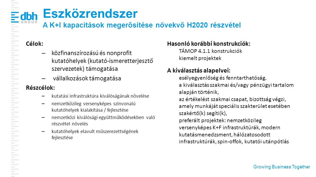 Growing Business Together Eszközrendszer A K+I kapacitások megerősítése növekvő H2020 részvétel Célok: – közfinanszírozású és nonprofit kutatóhelyek (
