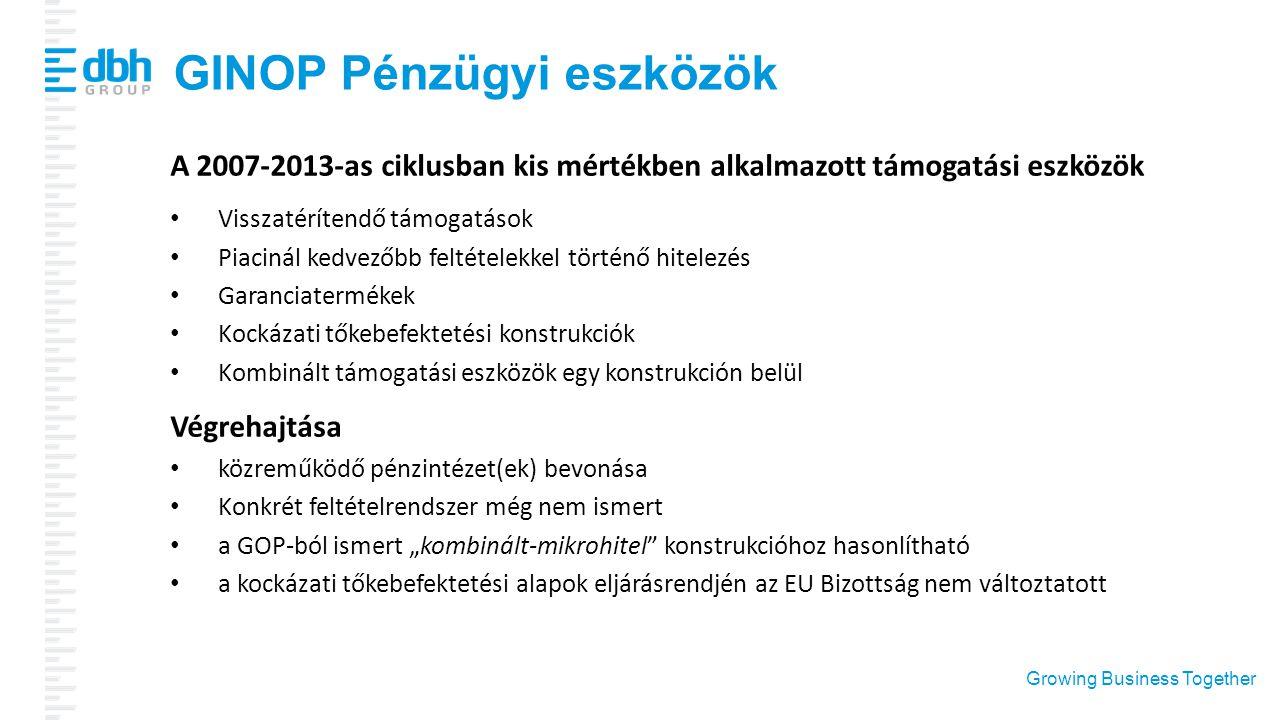 Growing Business Together GINOP Pénzügyi eszközök A 2007-2013-as ciklusban kis mértékben alkalmazott támogatási eszközök Visszatérítendő támogatások P