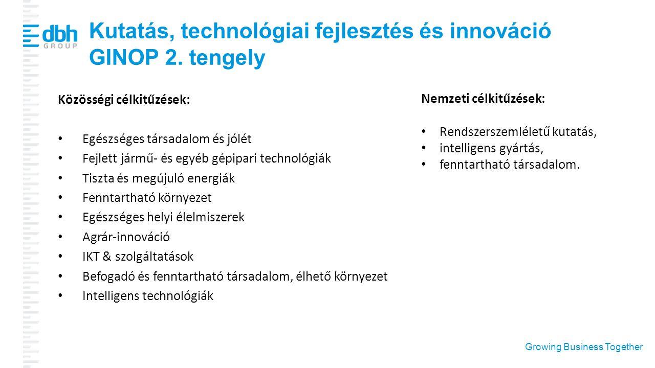 Growing Business Together Kutatás, technológiai fejlesztés és innováció GINOP 2. tengely Közösségi célkitűzések: Egészséges társadalom és jólét Fejlet