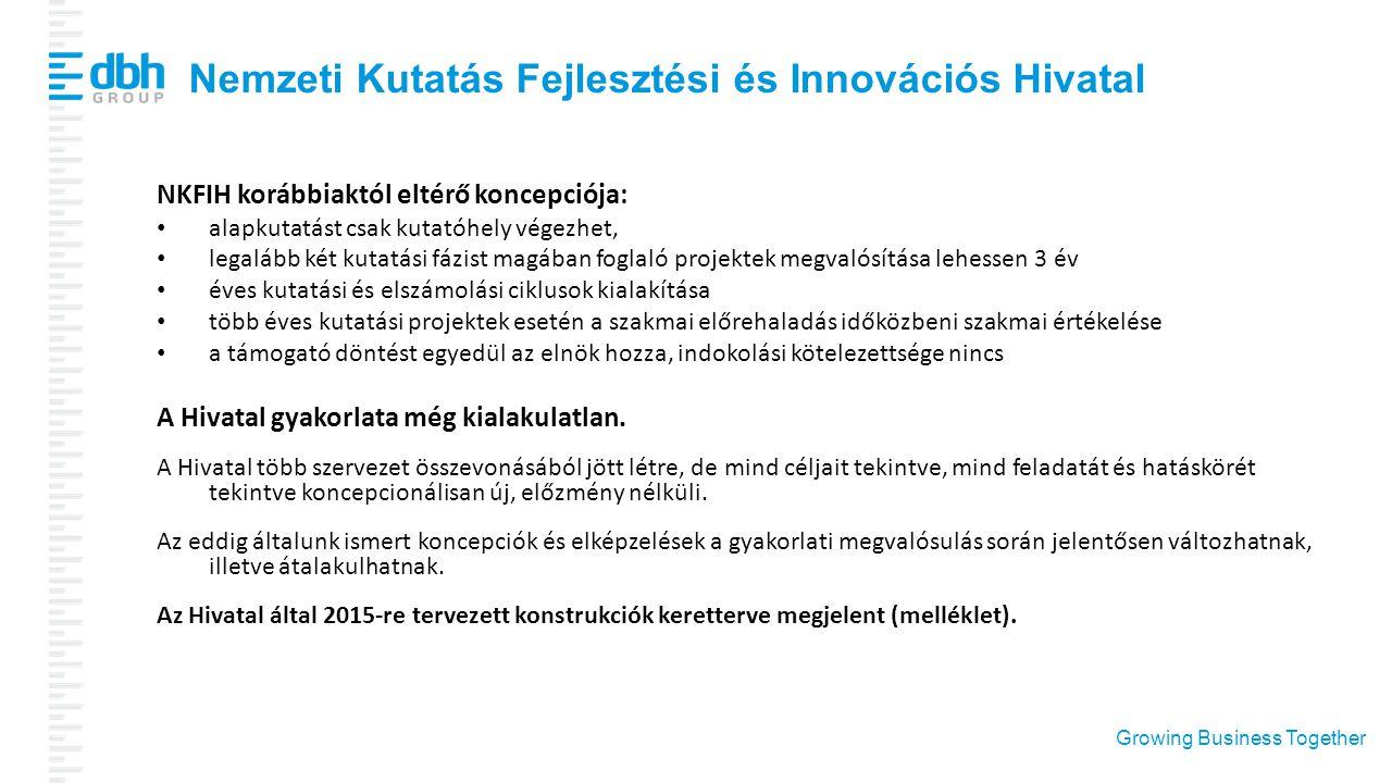 Growing Business Together Nemzeti Kutatás Fejlesztési és Innovációs Hivatal NKFIH korábbiaktól eltérő koncepciója: alapkutatást csak kutatóhely végezh