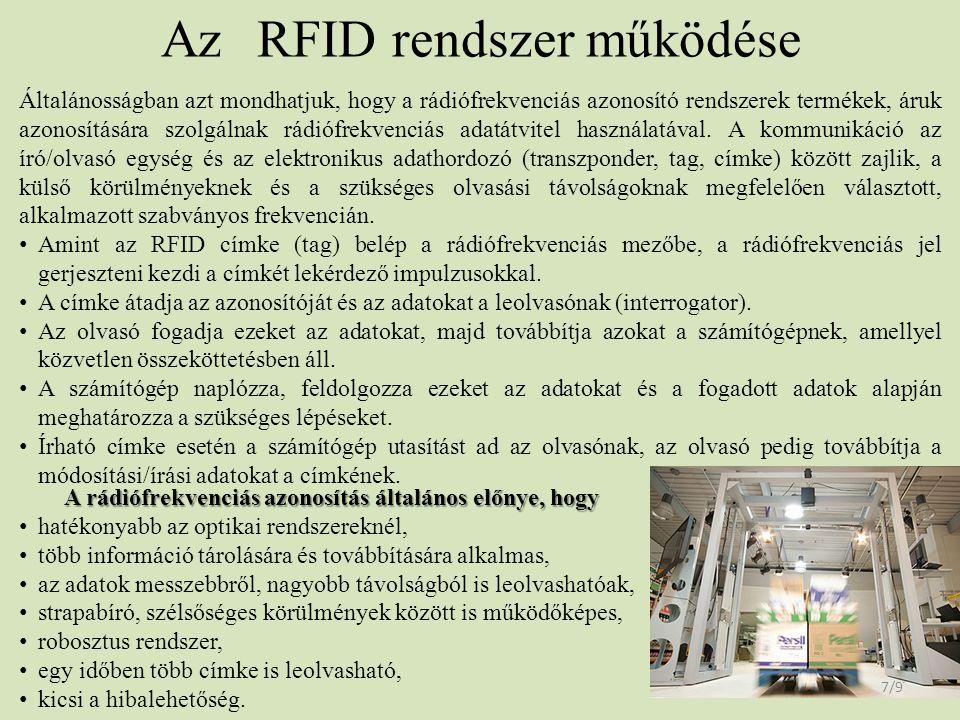 Az RFID rendszer működése 7/9 Általánosságban azt mondhatjuk, hogy a rádiófrekvenciás azonosító rendszerek termékek, áruk azonosítására szolgálnak rád