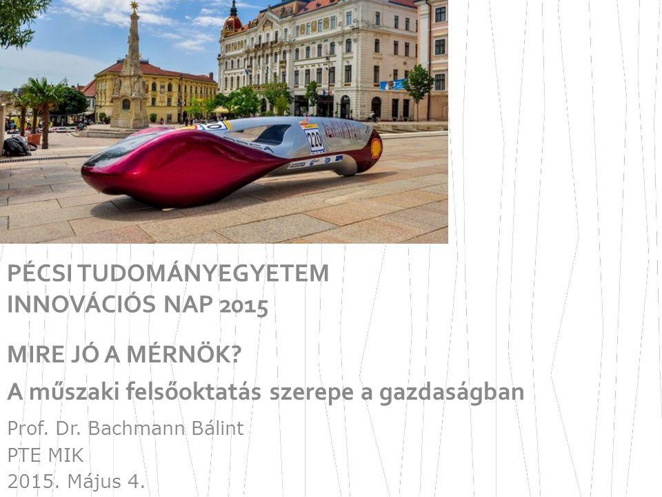 PÉCSI TUDOMÁNYEGYETEM INNOVÁCIÓS NAP 2015 MIRE JÓ A MÉRNÖK? A műszaki felsőoktatás szerepe a gazdaságban Prof. Dr. Bachmann Bálint PTE MIK 2015. Május