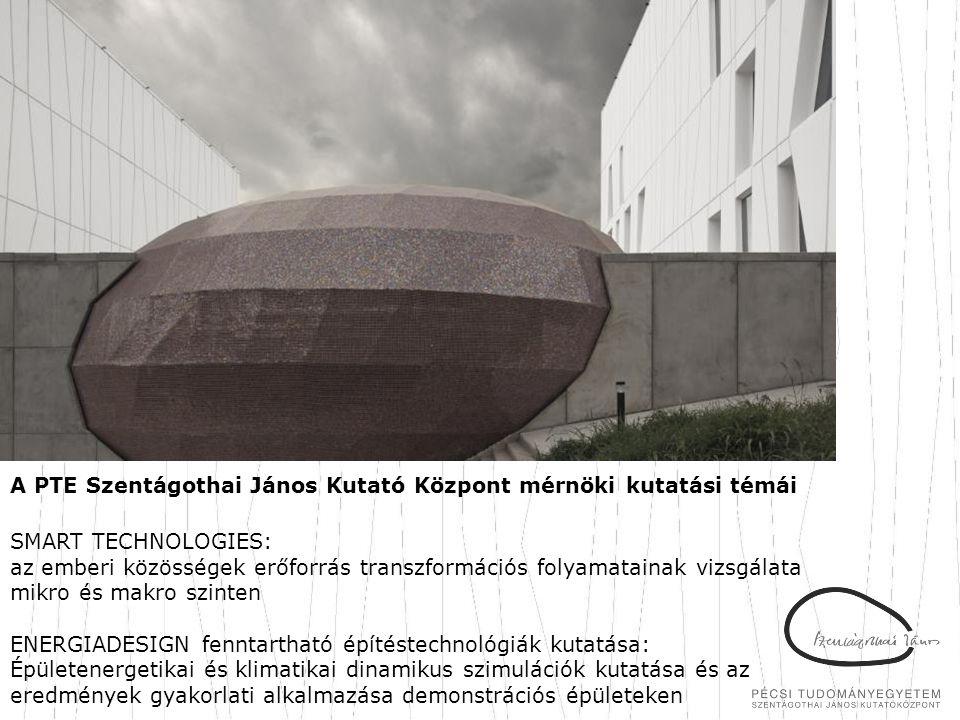 A PTE Szentágothai János Kutató Központ mérnöki kutatási témái SMART TECHNOLOGIES: az emberi közösségek erőforrás transzformációs folyamatainak vizsgá