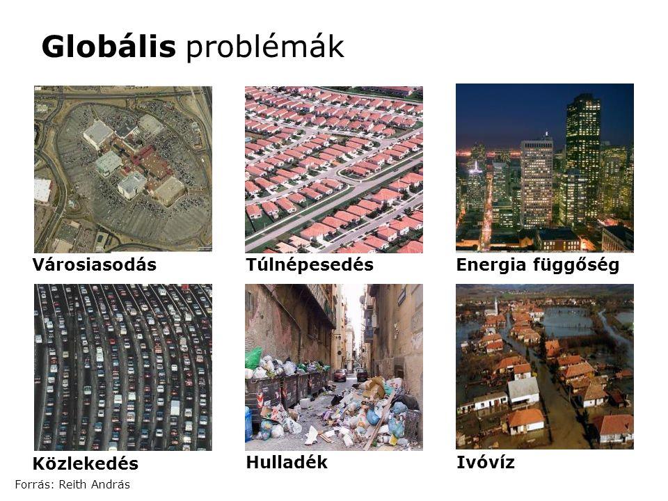 VárosiasodásTúlnépesedésEnergia függőség HulladékIvóvíz Globális problémák Közlekedés Forrás: Reith András