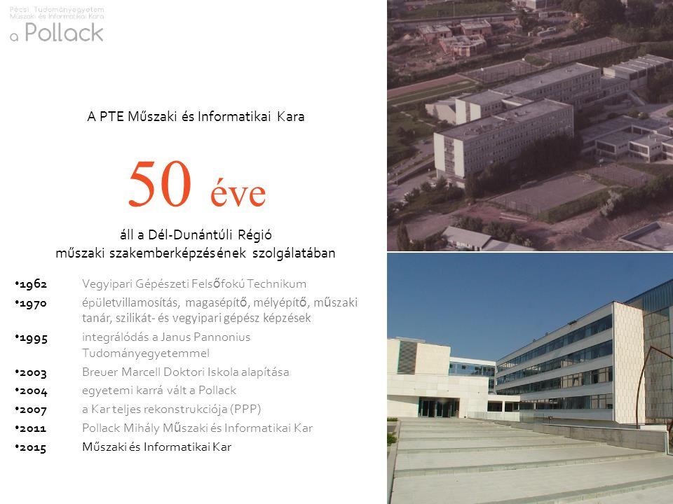A PTE Műszaki és Informatikai Kara 50 éve áll a Dél-Dunántúli Régió műszaki szakemberképzésének szolgálatában 1962Vegyipari Gépészeti Fels ő fokú Tech