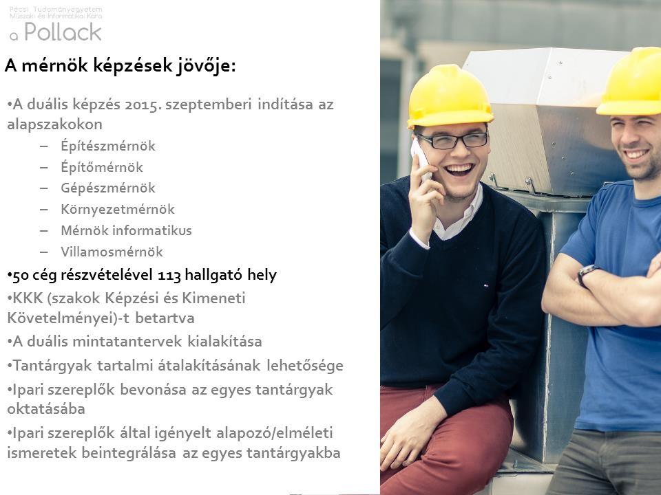 A duális képzés 2015. szeptemberi indítása az alapszakokon – Építészmérnök – Építőmérnök – Gépészmérnök – Környezetmérnök – Mérnök informatikus – Vill