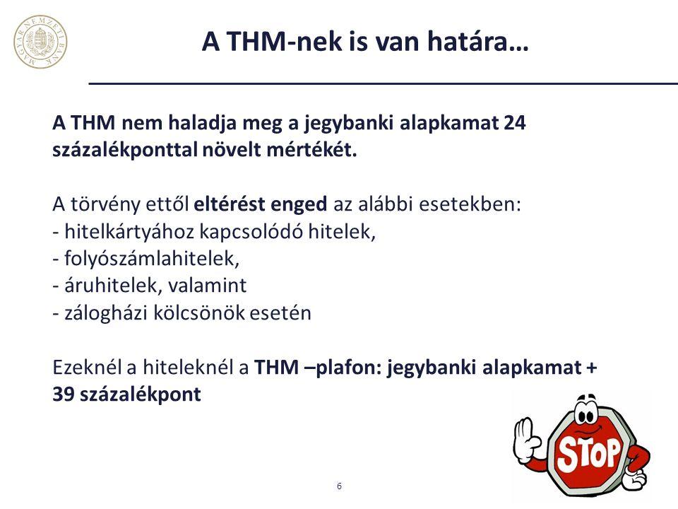 A THM-nek is van határa… 6 A THM nem haladja meg a jegybanki alapkamat 24 százalékponttal növelt mértékét. A törvény ettől eltérést enged az alábbi es
