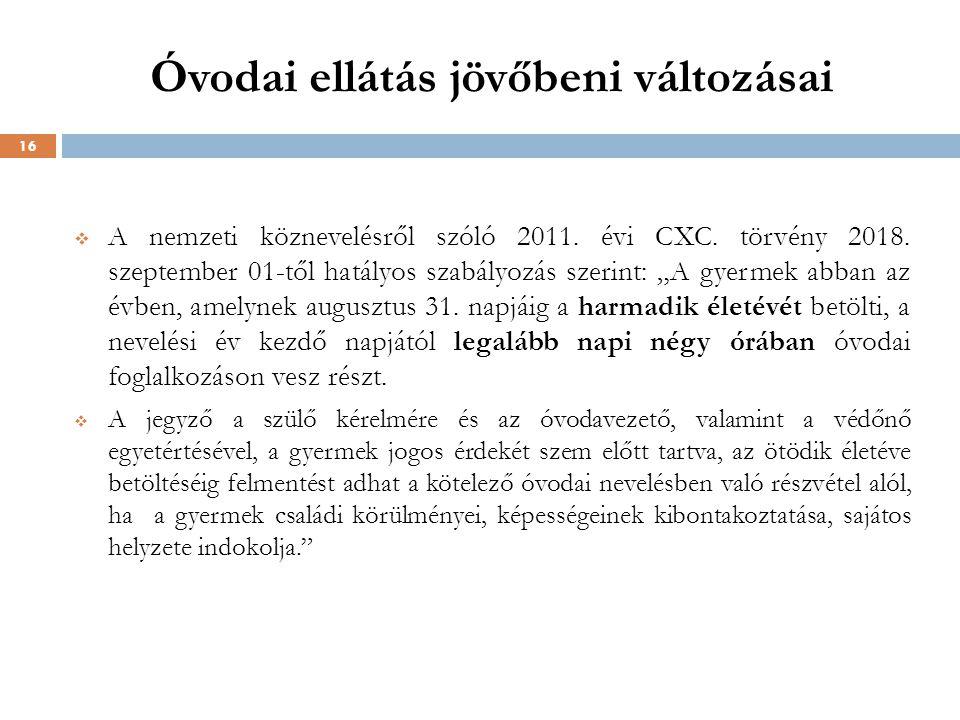 """Óvodai ellátás jövőbeni változásai  A nemzeti köznevelésről szóló 2011. évi CXC. törvény 2018. szeptember 01-től hatályos szabályozás szerint: """"A gye"""