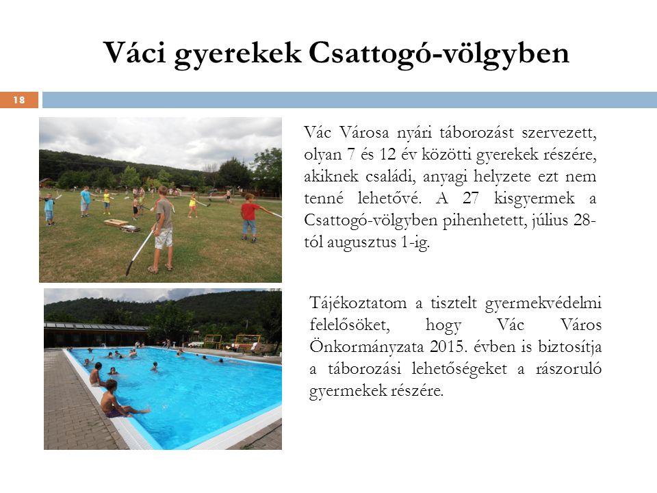Váci gyerekek Csattogó-völgyben 18 Vác Városa nyári táborozást szervezett, olyan 7 és 12 év közötti gyerekek részére, akiknek családi, anyagi helyzete ezt nem tenné lehetővé.