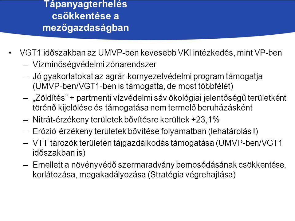VGT1 időszakban az UMVP-ben kevesebb VKI intézkedés, mint VP-ben –Vízminőségvédelmi zónarendszer –Jó gyakorlatokat az agrár-környezetvédelmi program t