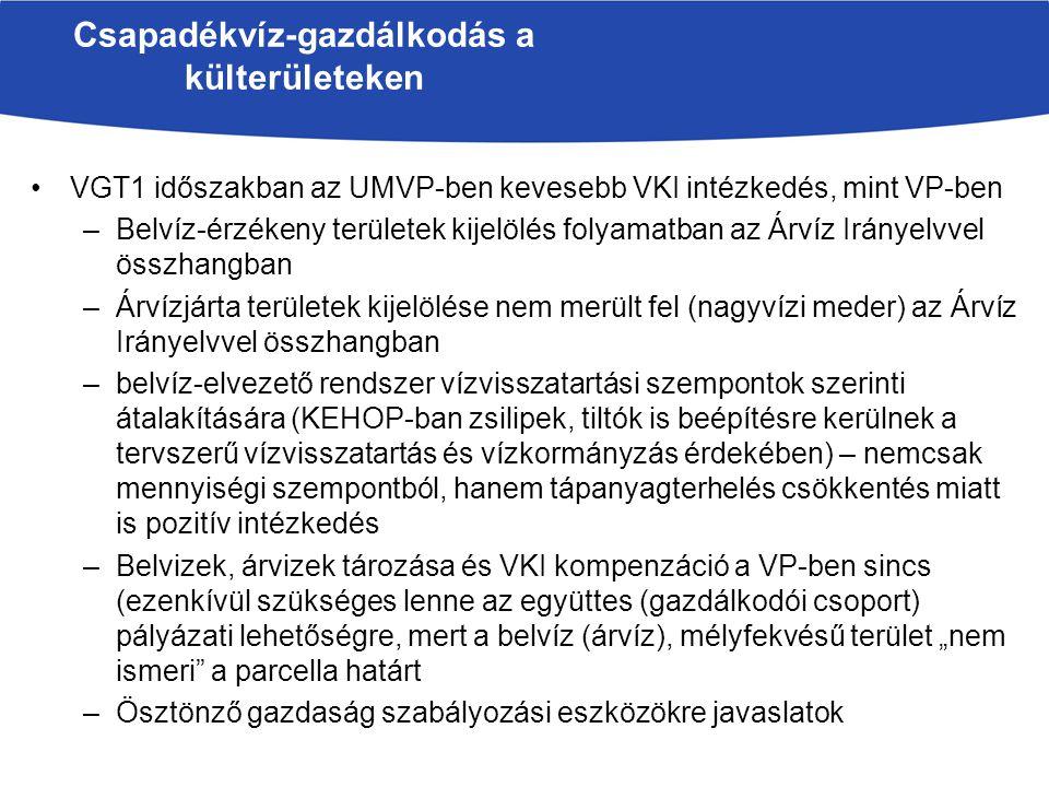 VGT1 időszakban az UMVP-ben kevesebb VKI intézkedés, mint VP-ben –Belvíz-érzékeny területek kijelölés folyamatban az Árvíz Irányelvvel összhangban –Ár