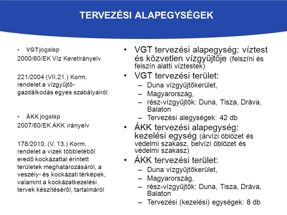 VGT tervezési alapegység: víztest és közvetlen vízgyűjtője (felszíni és felszín alatti víztestek) VGT tervezési terület: –Duna vízgyűjtőkerület, –Magy