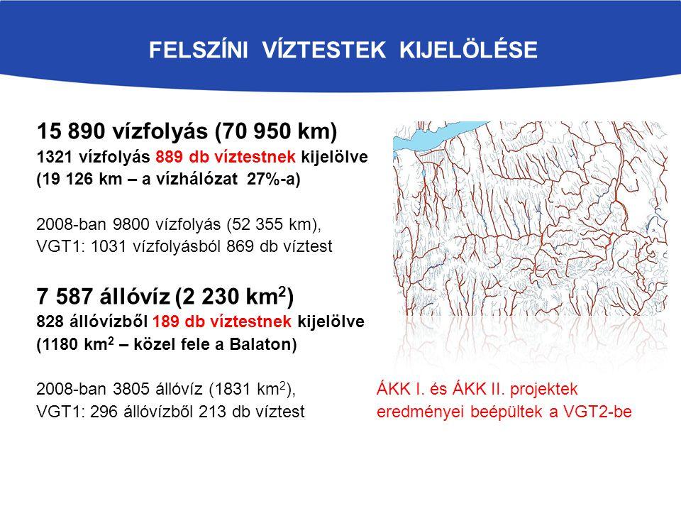 FELSZÍNI VÍZTESTEK KIJELÖLÉSE 15 890 vízfolyás (70 950 km) 1321 vízfolyás 889 db víztestnek kijelölve (19 126 km – a vízhálózat 27%-a) 2008-ban 9800 v