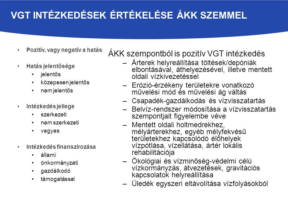 VKI 4.7 cikkely szerinti hatásvizsgálat az ÁKK intézkedésekre (SKV keretében) Kedvezőtlen hatás mérséklésére mindent megtettek (kompenzációs intézkedések) ÁKK intézkedés okát a VGT tartalmazza és a célkitűzést 6 évente felülvizsgálják (árvízvédelem, vagy belvízvédelem hidromorfológiai változtatásokat igényel) Közérdekűség és környezeti előnyöket meghaladják a társadalmi-gazdasági előnyök bizonyítása (pl.