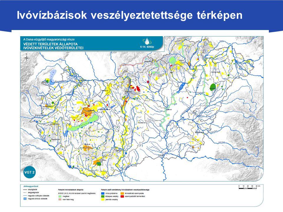 Ivóvízbázisok veszélyeztetettsége térképen