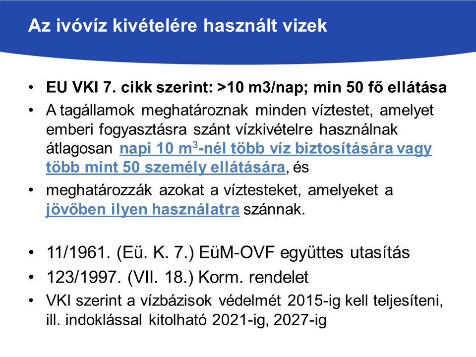 EU VKI 7. cikk szerint: >10 m3/nap; min 50 fő ellátása A tagállamok meghatároznak minden víztestet, amelyet emberi fogyasztásra szánt vízkivételre has
