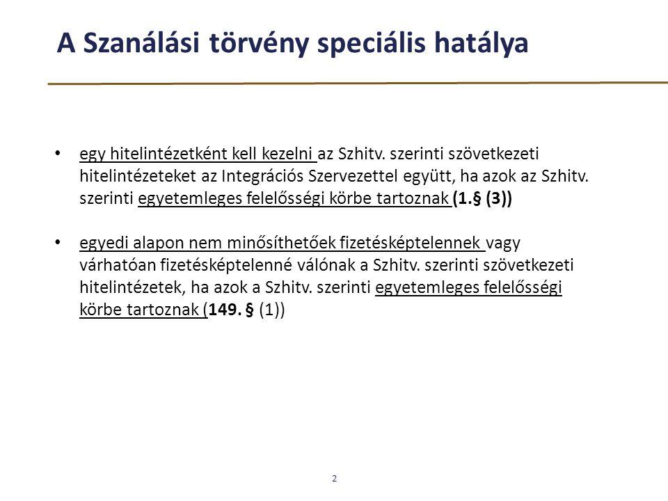 A Szanálási törvény speciális hatálya 2 egy hitelintézetként kell kezelni az Szhitv. szerinti szövetkezeti hitelintézeteket az Integrációs Szervezette