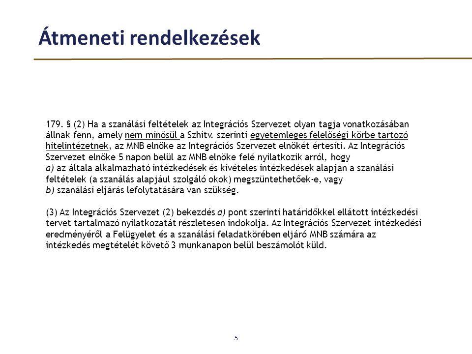 Átmeneti rendelkezések 5 179. § (2) Ha a szanálási feltételek az Integrációs Szervezet olyan tagja vonatkozásában állnak fenn, amely nem minősül a Szh