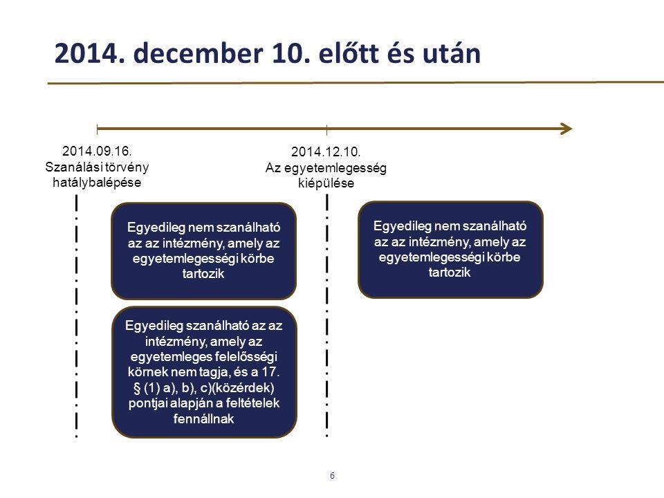 2014. december 10. előtt és után 6 2014.09.16. Szanálási törvény hatálybalépése 2014.12.10. Az egyetemlegesség kiépülése Egyedileg nem szanálható az a