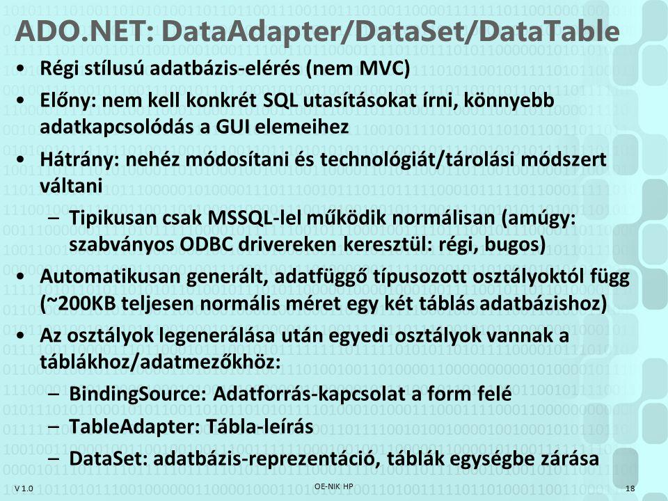 V 1.0 ADO.NET: DataAdapter/DataSet/DataTable Régi stílusú adatbázis-elérés (nem MVC) Előny: nem kell konkrét SQL utasításokat írni, könnyebb adatkapcsolódás a GUI elemeihez Hátrány: nehéz módosítani és technológiát/tárolási módszert váltani –Tipikusan csak MSSQL-lel működik normálisan (amúgy: szabványos ODBC drivereken keresztül: régi, bugos) Automatikusan generált, adatfüggő típusozott osztályoktól függ (~200KB teljesen normális méret egy két táblás adatbázishoz) Az osztályok legenerálása után egyedi osztályok vannak a táblákhoz/adatmezőkhöz: –BindingSource: Adatforrás-kapcsolat a form felé –TableAdapter: Tábla-leírás –DataSet: adatbázis-reprezentáció, táblák egységbe zárása OE-NIK HP 18
