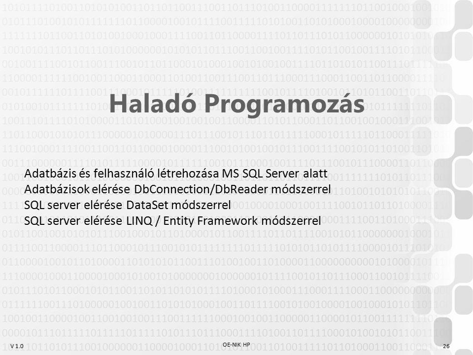 V 1.0 OE-NIK HP 26 Haladó Programozás Adatbázis és felhasználó létrehozása MS SQL Server alatt Adatbázisok elérése DbConnection/DbReader módszerrel SQL server elérése DataSet módszerrel SQL server elérése LINQ / Entity Framework módszerrel