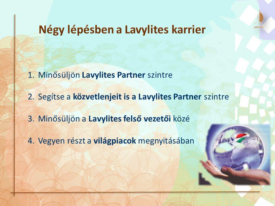 1.Minősüljön Lavylites Partner szintre 2.Segítse a közvetlenjeit is a Lavylites Partner szintre 3.Minősüljön a Lavylites felső vezetői közé 4.Vegyen részt a világpiacok megnyitásában