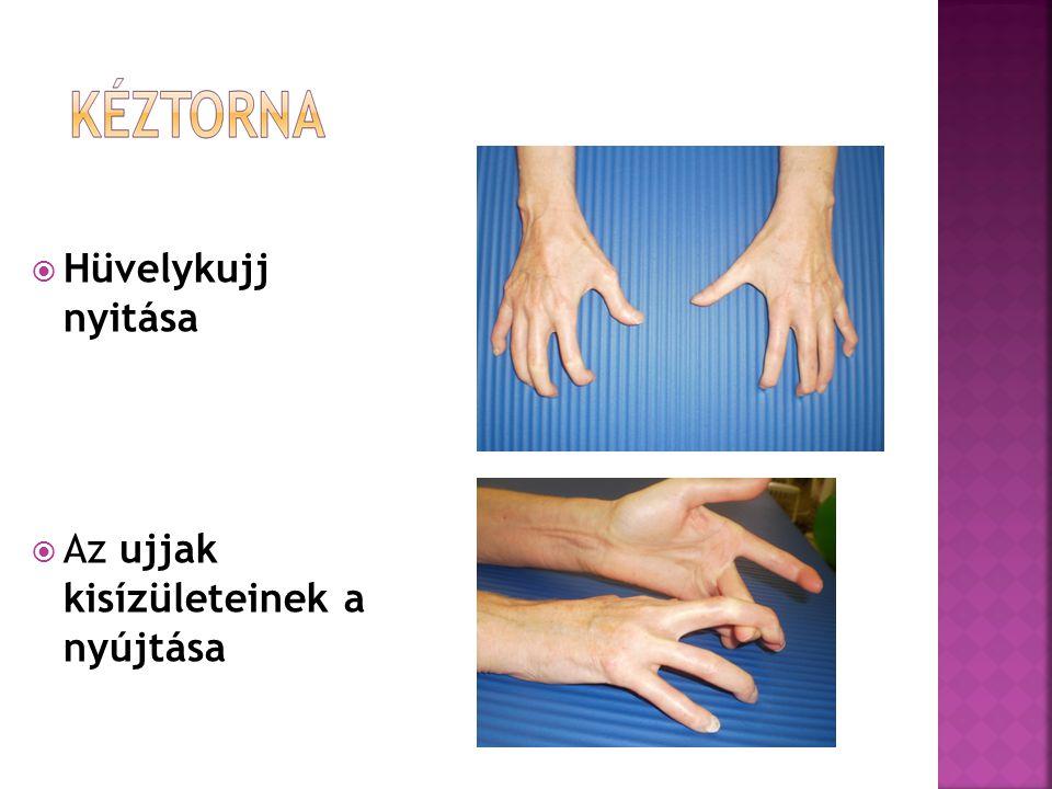  Hüvelykujj nyitása  Az ujjak kisízületeinek a nyújtása