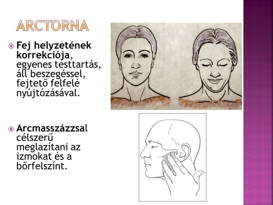  Fej helyzetének korrekciója, egyenes testtartás, áll beszegéssel, fejtető felfelé nyújtózásával.  Arcmasszázzsal célszerű meglazítani az izmokat és