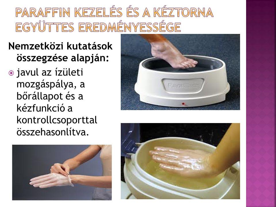 Nemzetközi kutatások összegzése alapján:  javul az ízületi mozgáspálya, a bőrállapot és a kézfunkció a kontrollcsoporttal összehasonlítva.