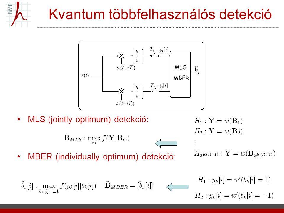 Kvantum többfelhasználós detekció MLS (jointly optimum) detekció: MBER (individually optimum) detekció: