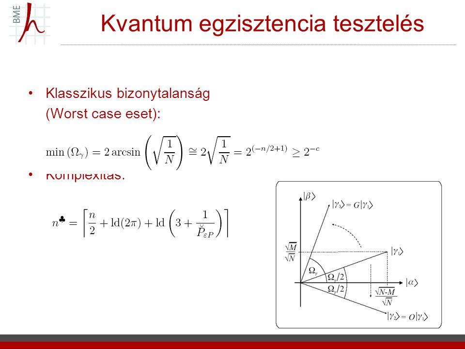 Kvantum egzisztencia tesztelés Klasszikus bizonytalanság (Worst case eset): Komplexitás: