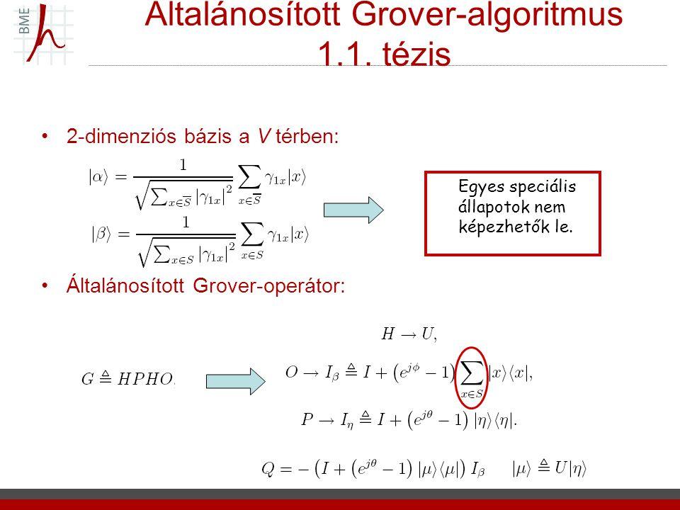 Általánosított Grover-algoritmus 1.1. tézis 2-dimenziós bázis a V térben: Általánosított Grover-operátor: Egyes speciális állapotok nem képezhetők le.
