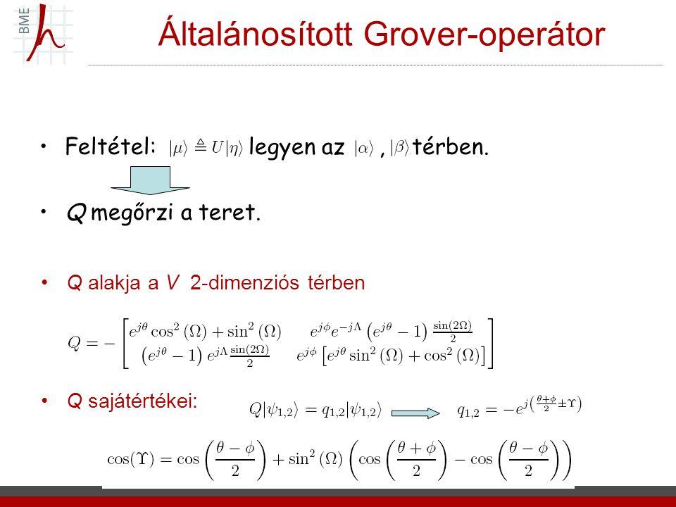 Általánosított Grover-operátor Q alakja a V 2-dimenziós térben Q sajátértékei: Feltétel: legyen az, térben. Q megőrzi a teret.