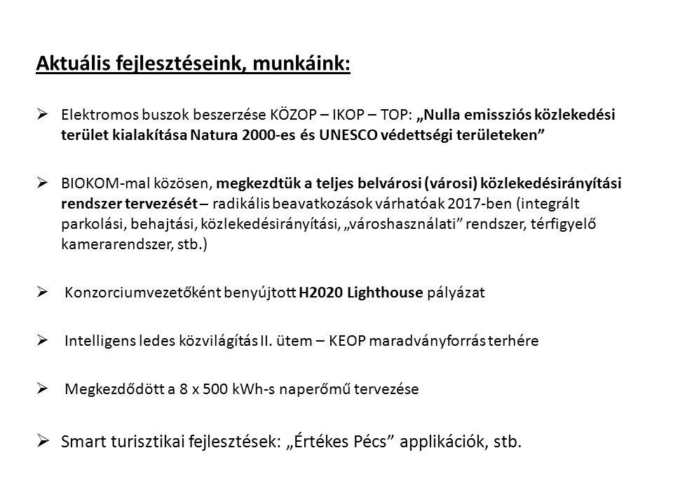 """Aktuális fejlesztéseink, munkáink:  Elektromos buszok beszerzése KÖZOP – IKOP – TOP: """"Nulla emissziós közlekedési terület kialakítása Natura 2000-es"""